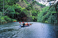 Couple kayaks up the Wailua River. Kauai