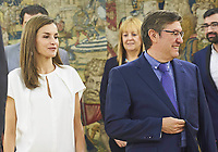 27 JULY 2017 - Madrid, Spain - Queen Letizia and King Felipe during an audience granted to representatives of the Spanish Evangelical Religious Entities Federation (Ferede) at the Palace of La Zarzuela. Photo Credit: PPE/face to face/AdMedia