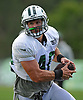 Anthony Firkser #40 of the New York Jets runs upfield after making a catch during training camp at the Atlantic Health Jets Training Center in Florham Park, NJ on Friday, Aug. 4, 2017.