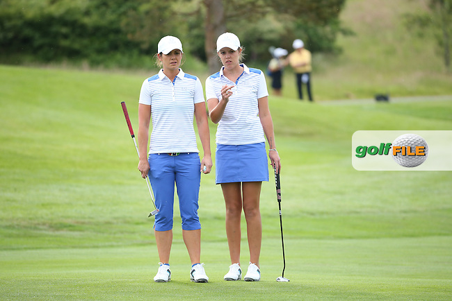Maria Dunne and Meghan MacLaren during Friday Foursomes at the 2016 Curtis Cup, played at Dun Laoghaire GC, Enniskerry, Co Wicklow, Ireland. 10/06/2016. Picture: David Lloyd | Golffile. <br /> <br /> All photo usage must display a mandatory copyright credit to &copy; Golffile | David Lloyd.