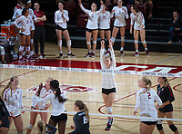 STANFORD, CA - October 12, 2018: Meghan McClure, Jenna Gray, Kate Formico, Tami Alade, Kathryn Plummer, Morgan Hentz at Maples Pavilion. No. 2 Stanford Cardinal swept No. 21 Washington State Cougars, 25-15, 30-28, 25-12.