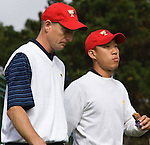 Jim Furyk and Anthony Kim at the 2009 President's Cup held Harding Park Golf Course in San Francisco, CA.  I was shooting for the San Francisco Examiner's website.