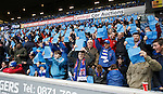 Rangers fans blue card protest against the board on 72 minutes