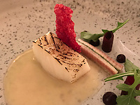 "The dish of ""Patagonian toothfish: light cooked and flamed 
