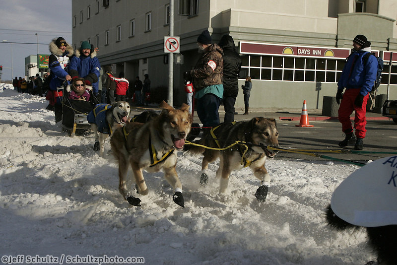 Hans Gatt in Anchorage on Saturday March 1st during the ceremonial start day of the 2008 Iidtarod Sled Dog Race.