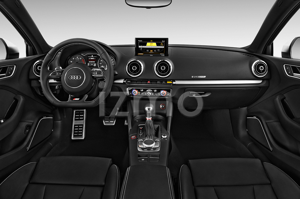Stock photo of straight dashboard view of 2015 Audi S3 Premium Plus 4 Door Sedan