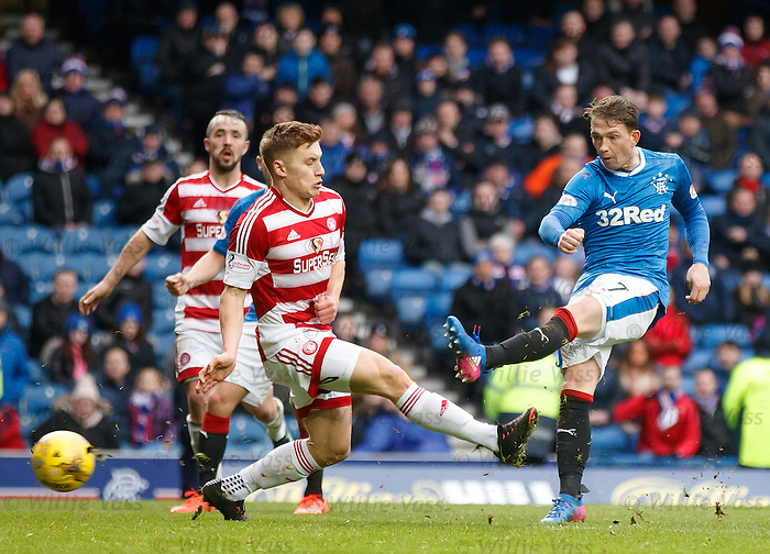 Joe Garner scores his third goal of the match in a 6-0 rout