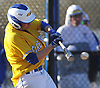 Thomas Paulich #4, Kellenberg third baseman, turns on a pitch during a Nassau-Suffolk CHSAA varsity baseball game against St. John the Baptist at Eisenhower Park on Tuesday, April 18, 2017. He drove in two runs in Kellenberg's 6-2 win.