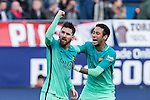 Leo Messi and Neymar Santos Jr of Futbol Club Barcelona celebrates after scoring a goal  during the match of Spanish La Liga between Atletico de Madrid and Futbol Club Barcelona at Vicente Calderon Stadium in Madrid, Spain. February 26, 2017. (ALTERPHOTOS)
