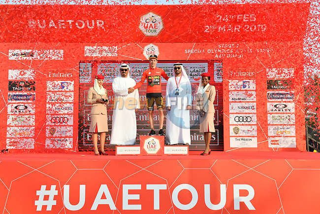 Race leader Primoz Roglic (SLO) Team Jumbo-Visma retains the Red Jersey at the end of Stage 2 of the 2019 UAE Tour, running 184km form Yas Island Yas Mall to Abu Dhabi Breakwater Big Flag, Abu Dhabi, United Arab Emirates. 25th February 2019.<br /> Picture: LaPresse/Massimo Paolone | Cyclefile<br /> <br /> <br /> All photos usage must carry mandatory copyright credit (© Cyclefile | LaPresse/Massimo Paolone)