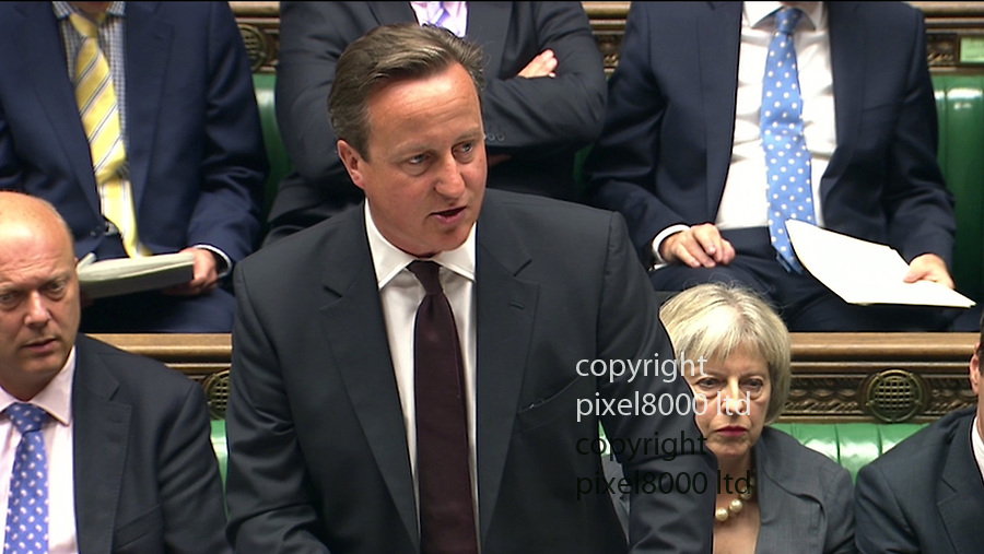 Pic shows:  David Cameron tells Commons about three ISIS fighters who have been killed by a British and American drone strikes in Syria <br /> <br /> <br /> <br /> <br /> <br /> <br /> <br /> <br /> Picture by Pixel8000 07917221968