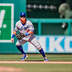 20 May 2018: Los Angeles Dodgers third baseman Justin Turner in action against the Washington Nationals at Nationals Park in Washington, DC. The Dodgers defeated the Nationals 7-2, sweeping their 3-game series. Mandatory Credit: Ed Wolfstein Photo *** RAW (NEF) Image File Available ***