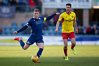 8th February 2020; Dens Park, Dundee, Scotland; Scottish Championship Football, Dundee versus Partick Thistle; Josh Meekings of Dundee shoots as Brian Graham of Partick Thistle closes in
