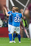 Hearts v St Johnstone...02.08.15   SPFL Tynecastle, Edinburgh<br /> Simon Lappin celebrates his goal with Liam Craig<br /> Picture by Graeme Hart.<br /> Copyright Perthshire Picture Agency<br /> Tel: 01738 623350  Mobile: 07990 594431