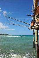 Abruzzo, San Vito Chietino, Costa dei Trabocchi, antiche macchine da pesca su palafitte.<br /> Abruzzo, &quot;Costa dei Trabocchi&quot;, antique fishing machines on stilts.