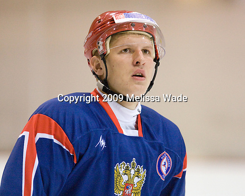 Viatcheslav Kulemin (Russia - 7) - Team Russia practices prior to their first game against Team USA during the 2009 USA Hockey National Junior Evaluation Camp on Tuesday, August 11, 2009, in Lake Placid, New York.