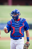 AZL Cubs catcher Marcus Mastrobuoni (5) on defense during a game against the AZL Brewers on August 1, 2017 at Sloan Park in Mesa, Arizona. Brewers defeated the Cubs 5-4. (Zachary Lucy/Four Seam Images)