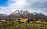 BNPS.co.uk (01202 558833)<br /> Pic: GeoffAllan/BNPS<br /> <br /> Shenavall Bothy near Ullapool in the very remote north west highlands.<br /> <br /> Wilderness walks - new book takes you down paths less travelled in the beautiful Scottish highlands.<br /> <br /> The stunning photos reveal Scotland's best remote walks, and also provide a rudimentary roof over your head at the end of the day. <br /> <br /> Geoff Allan has spent over 30 years travelling the length and breadth of the scenic country, passing through idyllic and untouched landscapes.<br /> <br /> The routes he has selected feature secret beaches, secluded glens, hidden caves and mountains.<br /> <br /> They also include bothies - remote mountain huts - which provide overnight shelter in the wilderness.<br /> <br /> Geoff has listed his top 28 trails complete with GPS maps and descriptions in his book Scottish Bothy Walks.