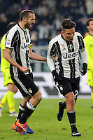 Calcio, Serie A: Juventus vs Bologna. Torino, Juventus Stadium, 8 gennaio 2017.<br /> Juventus&rsquo; Paulo Dybala, right, celebrates with teammate Giorgio Chiellini after scoring on a penalty kick during the Italian Serie A football match between Juventus and Bologna at Turin's Juventus Stadium, 8 January 2017. Juventus won 3-0.<br /> UPDATE IMAGES PRESS/Manuela Viganti