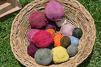 Peru, Urubamba Valley, Quechua Village of Misminay.  Colored Yarn used for Weaving.