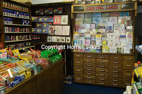 Old fashioned corner shop belonging to 79 year old David Brown the proprietor since 1953 when he took over after leaving the army. Brentwood Middlesex London