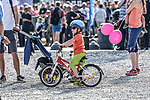 Start them young at the team presentation before the 104th edition of La Doyenne, Liege-Bastogne-Liege 2018, Belgium. 21st April 2018.<br /> Picture: ASO/Karen Edwards | Cyclefile<br /> <br /> <br /> All photos usage must carry mandatory copyright credit (&copy; Cyclefile | ASO/Karen Edwards)