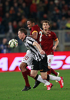 Seydou Keita  fighd Stephan Lichtsteiner uring the Italian Serie A soccer match between   AS Roma and Juventus FC       at Olympic Stadium      in Rome ,March 02 , 2015