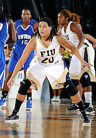 Florida International University guard/forward Sabina Salas (20) plays against Lynn University.  FIU won the game 68-30 on November 30, 2011 at Miami, Florida. .
