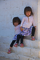 Twins, Young Girls at the Traditional Village of Sopsokha, Punakha District, Bhutan