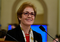 """Marie """"Masha"""" Yovanovitch, former United States Ambassador to Kyiv, Ukraine, on behalf of the US Department of State, testifies during the US House Permanent Select Committee on Intelligence public hearing as they investigate the impeachment of US President Donald J. Trump on Capitol Hill in Washington, DC on Friday, November 15, 2019. Credit: Ron Sachs / CNP/AdMedia"""
