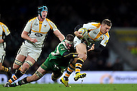 Jimmy Gopperth of Wasps takes on the London Irish defence. Aviva Premiership match, between London Irish and Wasps on November 28, 2015 at Twickenham Stadium in London, England. Photo by: Patrick Khachfe / JMP