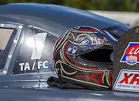 Aug 21, 2016; Brainerd, MN, USA; Detailed view of the helmet of NHRA top alcohol funny car driver Jonnie Lindberg after winning the Lucas Oil Nationals at Brainerd International Raceway. Mandatory Credit: Mark J. Rebilas-USA TODAY Sports