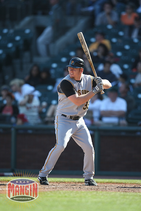 SAN FRANCISCO - SEPTEMBER 7:  Brandon Moss of the Pittsburgh Pirates bats during the game against the San Francisco Giants at AT&T Park in San Francisco, California on September 7, 2008.  The Giants defeated the Pirates 11-6.  Photo by Brad Mangin