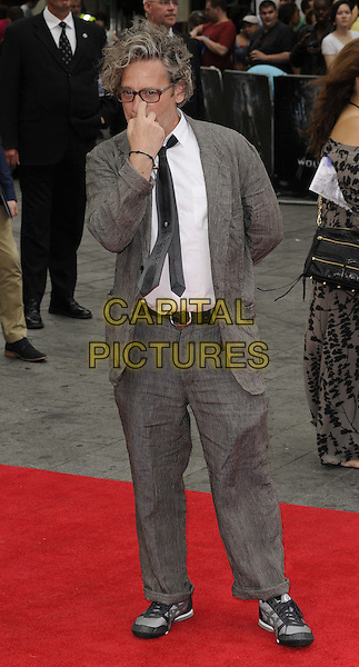 Dexter Fletcher<br /> &quot;The Wolverine&quot; UK Premiere, Empire Leicester Square, London, England.<br /> 16th July 2013<br /> full length suit jacket white shirt grey gray black tie glasses hand scratching face<br /> CAP/CAN<br /> &copy;Can Nguyen/Capital Pictures