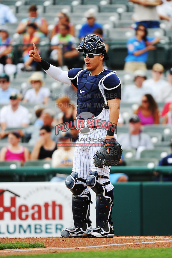 Trenton Thunder catcher Jose Gil (36) during game against the Altoona Curve at ARM & HAMMER Park on July 24, 2013 in Trenton, NJ.  Altoona defeated Trenton 4-2.  Tomasso DeRosa/Four Seam Images