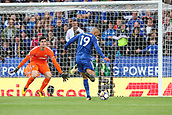 9th September 2017, King Power Stadium, Leicester, England; EPL Premier League Football, Leicester City versus Chelsea; Islam Slimani of Leicester City gets a strike on goal late in the first half