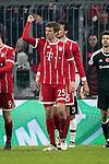 20.02.2018, Allianz Arena, M&uuml;nchen, GER, UEFA CL, FC Bayern M&uuml;nchen (GER) vs Besiktas Istanbul (TR) , im Bild<br />Thomas M&uuml;ller (M&uuml;nchen) freut sich &uuml;ber das Tor zum 1:0<br /><br /><br /> Foto &copy; nordphoto / Bratic