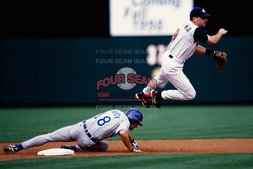 Gary DiSarcina of the Anaheim Angels plays in a baseball game at Edison International Field during the 1998 season in Anaheim, California. (Larry Goren/Four Seam Images)