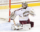 Parker Milner (BC - 35) - The Boston College Eagles defeated the University of Massachusetts-Amherst Minutemen 3-2 to take their Hockey East Quarterfinal matchup in two games on Saturday, March 10, 2012, at Kelley Rink in Conte Forum in Chestnut Hill, Massachusetts.