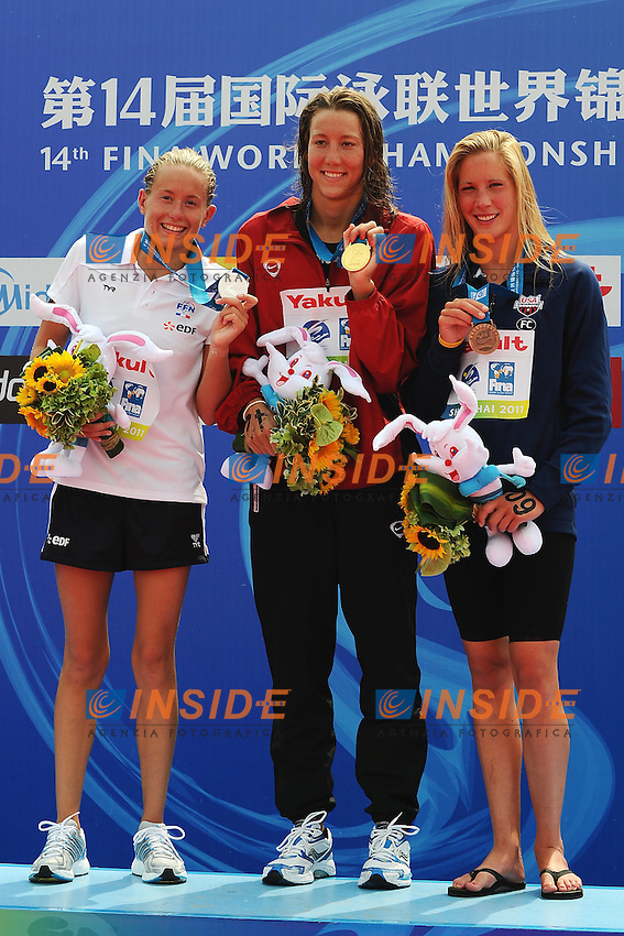 Aurelie MULLER France Silver MEdal, Swann OBERSON Switzerland Gold Medal, Ashley Grace TWICHELL USA Bronze Medal.Women's 5 Km Open Water.Shanghai 22/7/2011 .14th FINA World Championships.Foto Andrea Staccioli Insidefoto