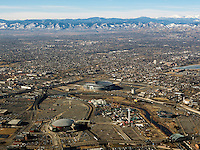 aerial photograph Sports Authority Field at Mile High Stadium Elitch Gardens Amusement Park Denver, Colorado