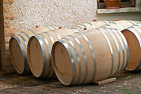 Oak barrel aging and fermentation cellar. Domaine Tracot Dubost, Beaujolais, France