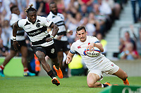 Jonny May of England scores a try in the second half. Quilter Cup International match between England and the Barbarians on May 27, 2018 at Twickenham Stadium in London, England. Photo by: Patrick Khachfe / Onside Images