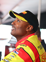 Aug. 1, 2014; Kent, WA, USA; NHRA top fuel dragster driver Antron Brown during qualifying for the Northwest Nationals at Pacific Raceways. Mandatory Credit: Mark J. Rebilas-