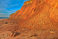 Red sandstone cliffs along Aspy Bay. Cape Breton Island.<br />