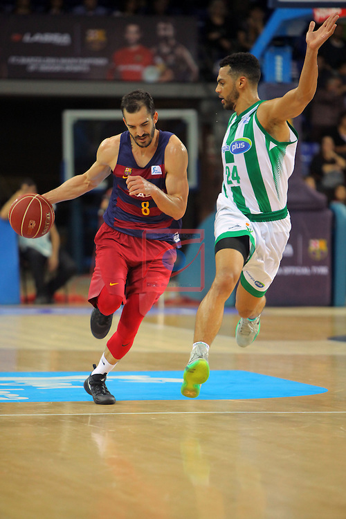 League ACB-ENDESA 2016/2017. Game: 5.<br /> FC Barcelona Lassa vs BEP-Real Betis Energia Plus: 80-58.<br /> Pau Ribas vs Trent Lockett.