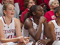 Bonnie Samuelson, and Chiney Ogwumike,  watch Saturday, November 25, 2012 game at Stanford against Long Beach State.. Stanford won 77-41.