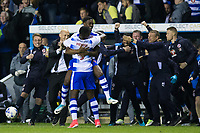 Reading's Tyler Blackett and Joseph Mendes celebrate in front of their coaching staff at the final whistle       <br /> <br /> <br /> Photographer Craig Mercer/CameraSport<br /> <br /> The EFL Sky Bet Championship Play-Off Semi Final Second Leg - Reading v Fulham - Tuesday May 16th 2017 - Madejski Stadium - Reading <br /> <br /> World Copyright &copy; 2017 CameraSport. All rights reserved. 43 Linden Ave. Countesthorpe. Leicester. England. LE8 5PG - Tel: +44 (0) 116 277 4147 - admin@camerasport.com - www.camerasport.com