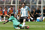 23 August 2008: Chibuzor Okonkwo (NGA) (2) tackles the ball away from Lionel Messi (ARG) (15). Argentina's Men's National Team defeated Nigeria's Men's National Team 1-0 at the National Stadium in Beijing, China in the Gold Medal match in the Men's Olympic Football tournament.