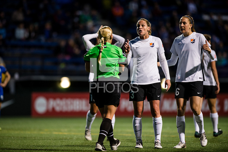 Seattle, WA - April 15th, 2017: Christie Rampone and Sarah Killion during a regular season National Women's Soccer League (NWSL) match between the Seattle Reign FC and Sky Blue FC at Memorial Stadium.